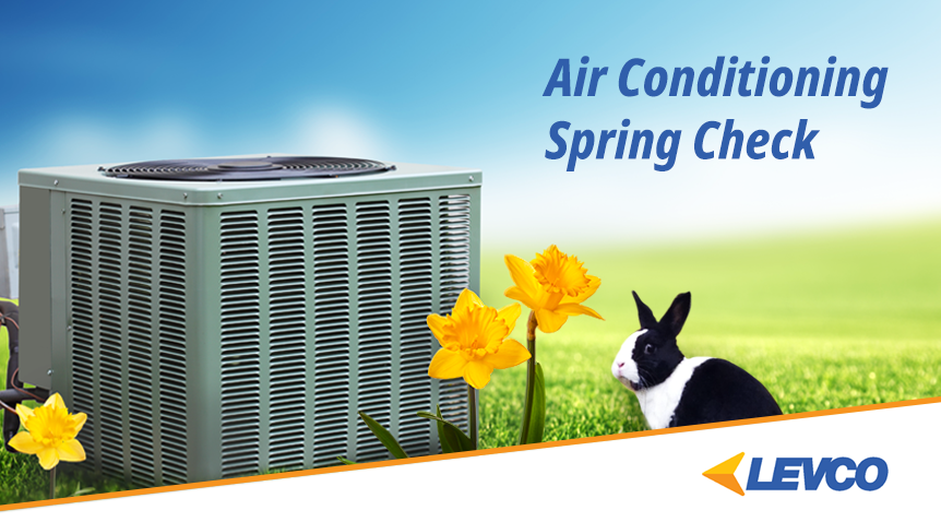 air conditioner spring check with a condenser and bunny and daffodils